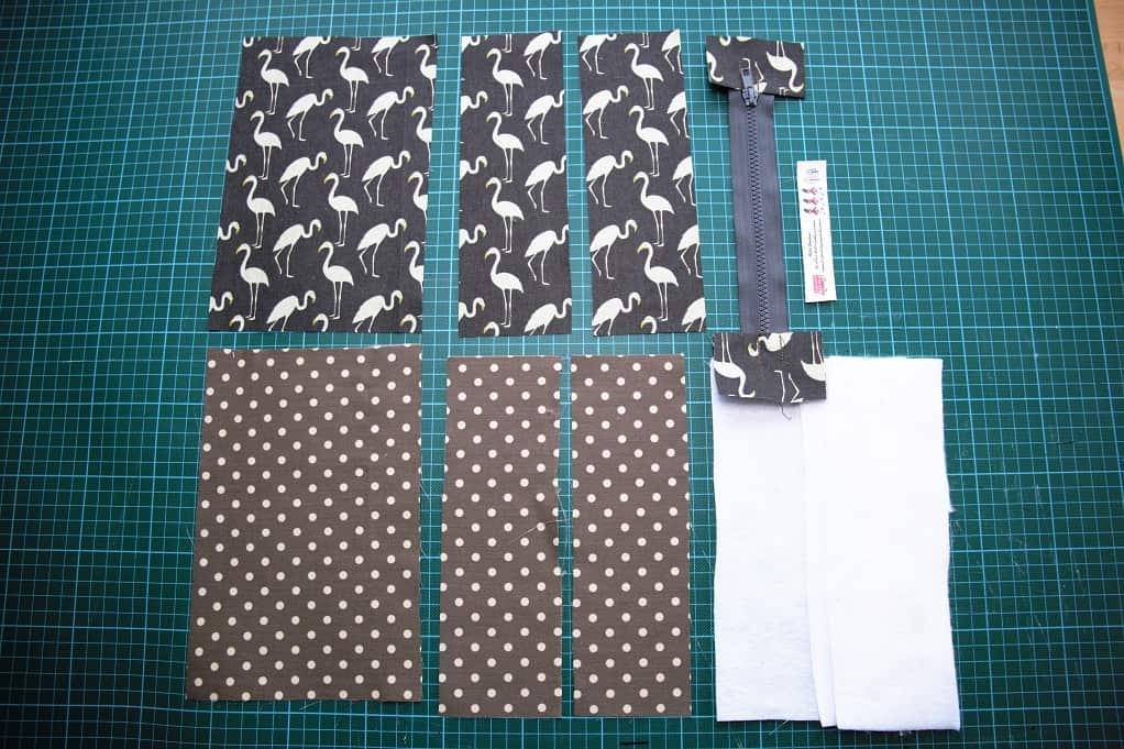 Reißverschluss-Tasche nähen - Stoffzuschnitt