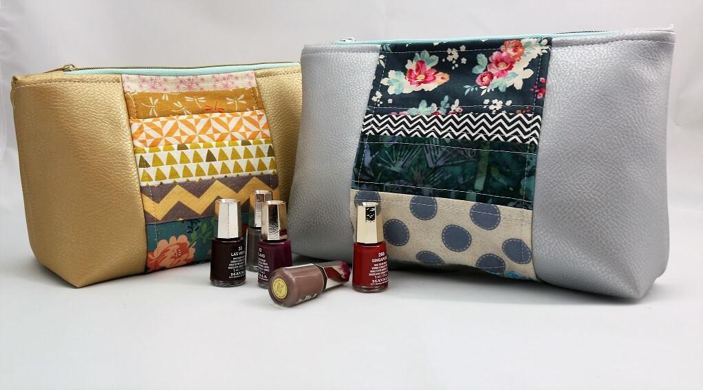 Kosmetiktasche im Patchwork-Look