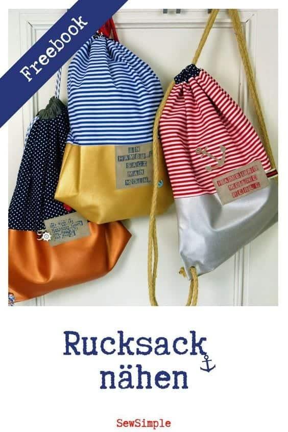 Maritimen Rucksack mit Kunstleder nähen