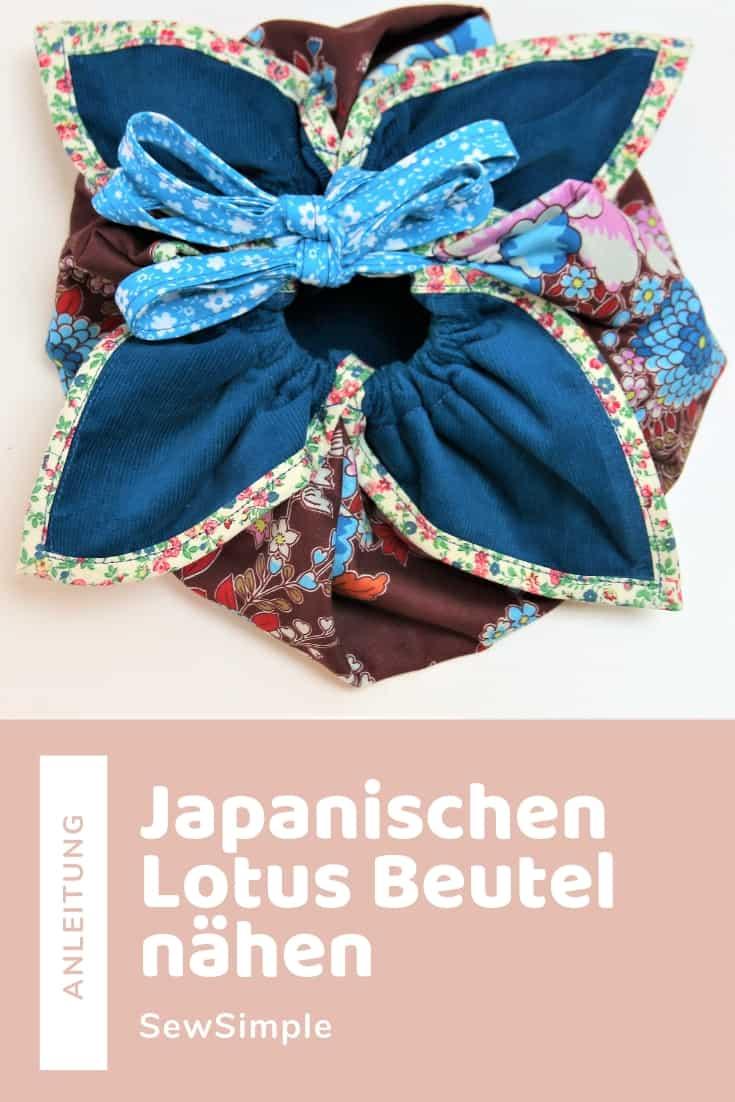 Japanischen Lotus Beutel nähen