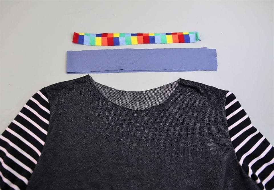 Ausschnitt versäubern mit Jersey-Streifen