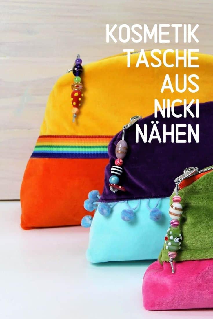 Kosmetiktasche aus Nicki-Stoff nähen