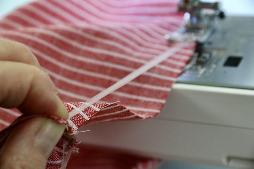 Stoffkanten mit Elastikband rüschen